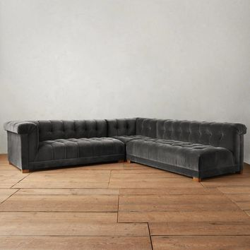 Velvet Kettleby Three-Piece Left Sectional