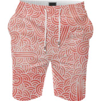 Peach echo and white swirls doodles Summer Short