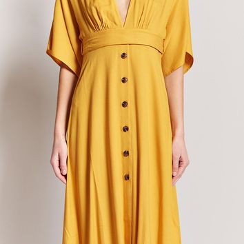 Plunging Button-Front Dress