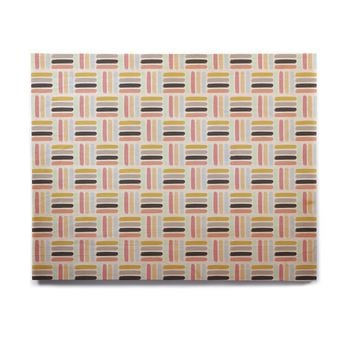 "afe images ""AFE Modern Basket Weave"" Coral Blue Abstract Pattern Digital Illustration Birchwood Wall Art"