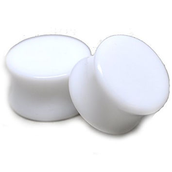 """White Acrylic Plugs - 1 1/4"""" - 32mm - Sold As a Pair"""