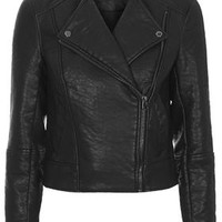 Faux Leather Biker Jacket - Jackets & Coats - Clothing