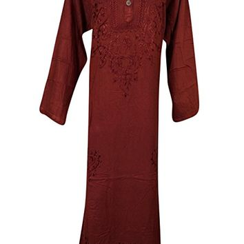 Womens Bohemian Kaftan Maroon Long Sleeves Rayon Embroidered Dresses XL