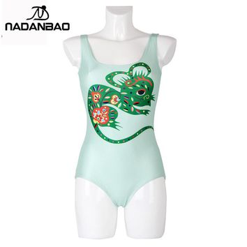 Swimwear Women Bathing Suit Zodiac Mouse Digital Printed Swimwear Sleeveless Beach Wear Sexy Backless One Piece Swimsuit
