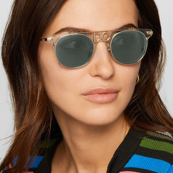Dolce & Gabbana - D-frame acetate and gold-tone sunglasses
