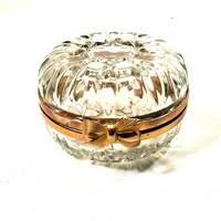 Vanity Dish Candy Dish Vintage Trinket Dish Round Clear Glass Box with Hinged Lid and Brass Accents Shabby Chic, Cottage or French Decor