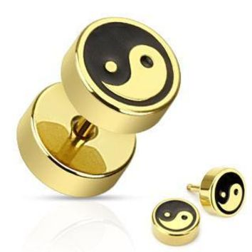 Gold Plated Yin Yang Faux Plugs