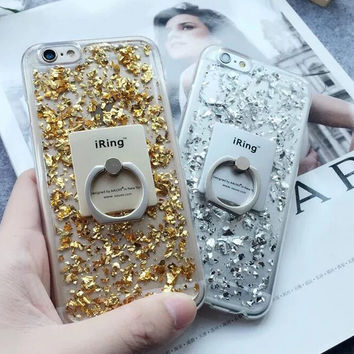 Gold Foil with Ring Case Cover for iPhone 7 7Plus & iPhone se 5s 6 6 Plus +Gift Box