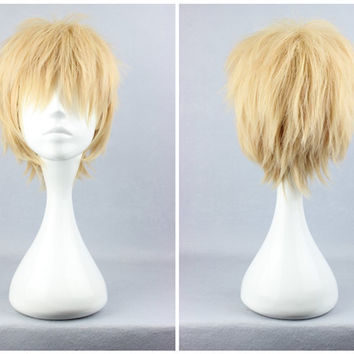 Top Grade Dramatical Murder Dmmd Noiz Style 30cm Short Boy Yellow Blonde Synthetic Cosplay Wig,Colorful Candy Colored synthetic Hair Extension Hair piece 1pcs Beyonce's Hairstyle WIG-271A