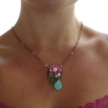 Pink rose romantic victorian charm necklace. Shabby chic flower summer dress pendant necklace. Bridesmades necklaces.