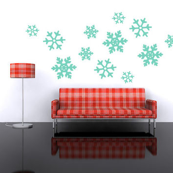 Holiday Wall Decal, Snowflakes Wall Decor, Geometric Wall Decor, Holiday Wall Decor, Winter Wall Decor, Retro Wall Decals, Christmas Decor