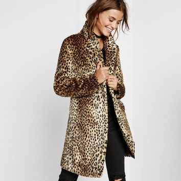 Women's Leopard Print Faux Fur Coat