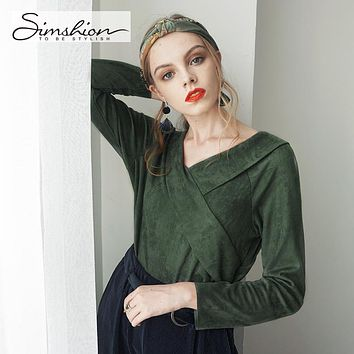 Simshion Women Green Vintage Faux Fur Shirts Autumn Plain Long Sleeves Spliced Blouses Tops Female Casual V-neck Shirt 2017