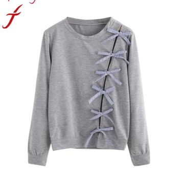 Long Sleeve Bow Tie Loose Solid Gray O-neck Pullovers