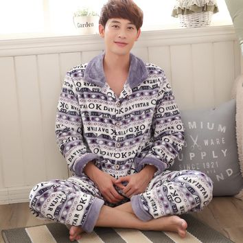 2017 New Warm Men's Sleep & Lounge Patchwork Flannel Pajama Sets Soft Hot Nightgowns Coral Fleece Homewear Clothes Plus Size