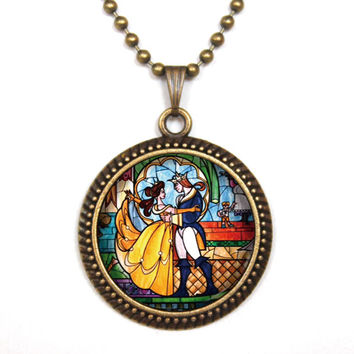 Handmade beauty and the beast pendent necklace beauty and the beast vintage pendent gift girlfriend boyfriend gift