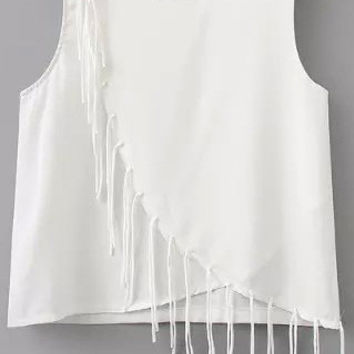 White Fringed Crop Top