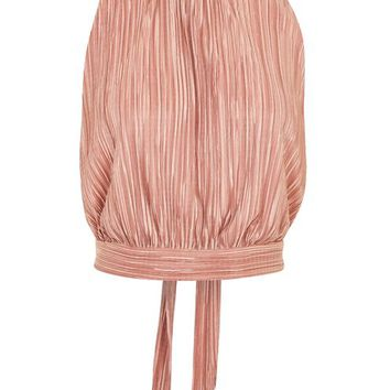 **Pleated High Neck Top by Love