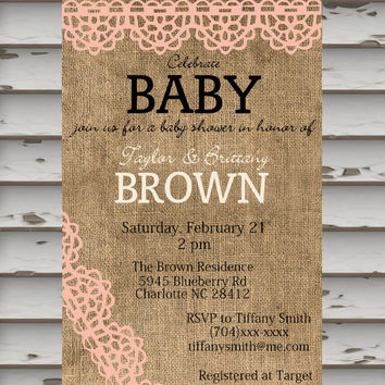 Baby Shower Invitation - Burlap & Lace - Printable Invitation - Baby Girl - Pink