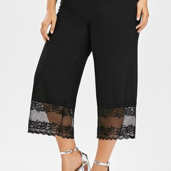 Pants Lace Trim Palazzo Plus Size - Black