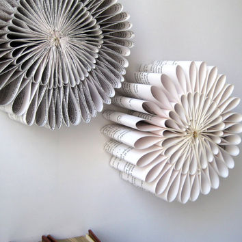 Paper Sculpture - Round folded Book paper Sculpture - Origami Book Sculpture- Recycled Book - Eco friendly