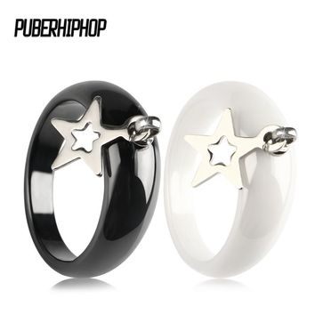 316 Stainless Steel Star Rings for Women Vintage Wedding Ceramic Ring  Midi Finger Anillos Mujer Irregular Personality Jewelry
