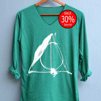 Deathly Hallows Sign Harry Potter Shirts V-Neck Green Unisex Adult Size S M L