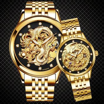 Couple Watch  Men's  Women's Fashion Automatic Business Unique Mechanical Watch Gold Watch  Automatic Sport Waterproof Casual Wa