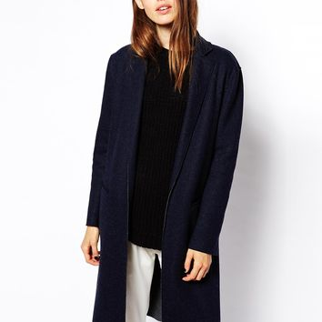 ASOS Coat in Longline Bonded Wool