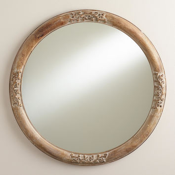 Round Floral Hazel Mirror - World Market