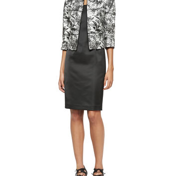 3/4-Sleeve Floral Jacket & Satin Dress Set, Size: 12, ONYX/SILVER - Albert Nipon