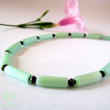 Sea Green Cats Eye Choker Set by SandstarJewelry on Etsy