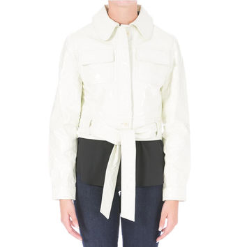Catherine Malandrino Womens Patent Leather Crop Jacket