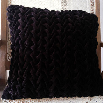 Chocolate Brown Velvet Decorative Throw Pillows,Textured,Canadian Smocking,Couch Pillows,16x16 Pillows, Home Decor, Indian Cushion Cover