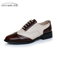 Cow leather big woman US size 10 designer vintage flat shoes round toe handmade brown beige 2017 oxford shoes for women with fur