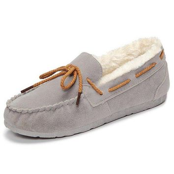Mary Jane Suede Slip On Bowknot Flat Keep Warm Fur Lining Shoes