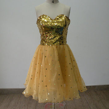 Pretty Lovely Custom made cheap gold sweetheart sequin lace knee length short Prom/Evening/Party/Bridesmaid/Cocktail/Homecoming Dress Gown
