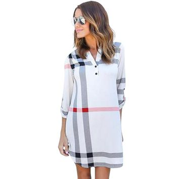 Women Casual Dress Elegant Classical Plaid Printed Dresses Brand V neck Shirt Dress Office Ladies Clothes Mini Dress LJ5569U