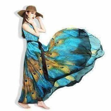 Bohemian Peacock Print Summer Women Maxi Dress