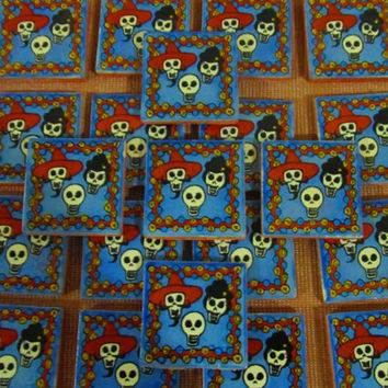 On Sale - 20 Talavera Mexican Tile Mosaic Day of the Dead 2x2 Tiles Clay Tile Magnet