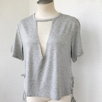 CUT IT OUT TOP- GREY