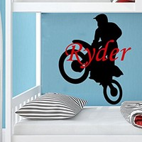 Wall Decal Boy Name Motorcyclist Sportsman Sticker Personalized Name Nursery Baby Kids Custom Name Vinyl Sticker Decals Home Decor Art Bedroom Design Interior C512