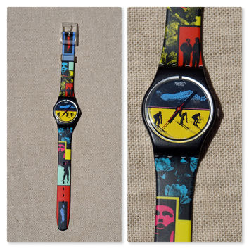 "1988 Swatch Watch ""Frozen Dreams"", Original Box, Skiers, Skiing, Colorful Graphics. Women's Vintage 80s Accessory, Collectible"