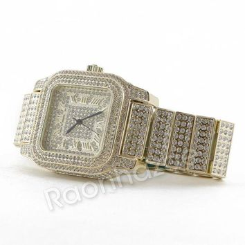 LMFA8C Hip Hop 14K Gold Simulated Diamond Watch  F46