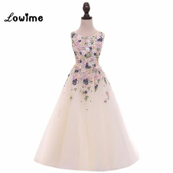 Beautiful Girls Pageant Dresses Graduation Gowns Children Applique Beaded Flower Girl Dresses For Weddings 2018 Vestido Longo