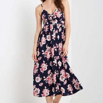 Alora Navy Floral Button Down Maxi Dress