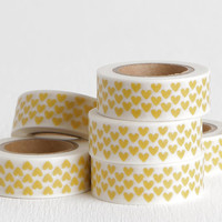 Yellow Heart Washi Tape, DIY Valentine Card, 15mm