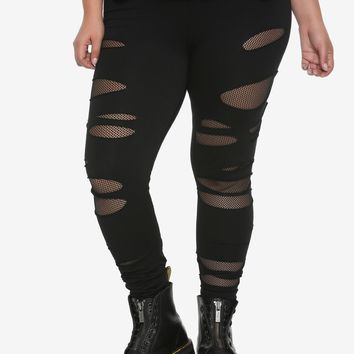 Black Shredded Fishnet Leggings Plus Size