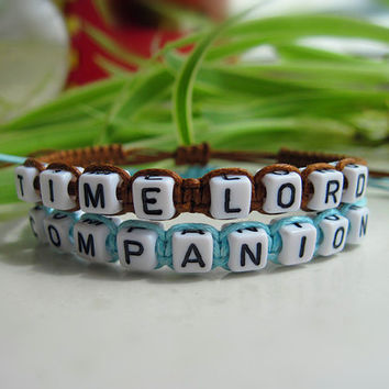 Doctor Who Inspired Bracelets, Time Lord Companion Bracelets, Doctor Companion, Couples Bracelets,Friendship Gifts