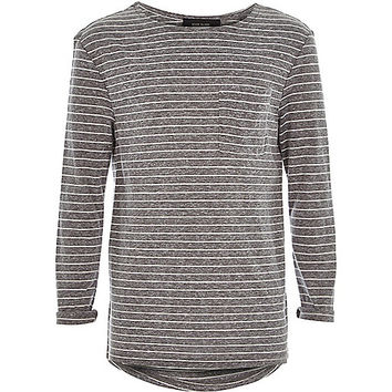 River Island Boys grey stripe slouchy t-shirt